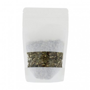Standbodenbeutel Kraftpapier Weiss + Breite Fenster-Aluminiumfrei